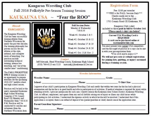Fall Kangaroo Registration 2016